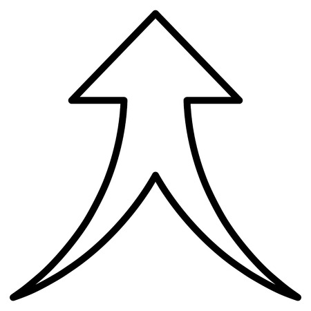 unite: Merge Arrow Up vector icon. Style is thin line icon symbol, black color, white background.