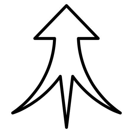 ベクトルのアイコンを矢印にマージします。スタイルは細い線アイコン シンボル、黒い色は、白背景です。