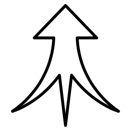 Merge Arrow Up vector icon. Style is thin line icon symbol, black color, white background.