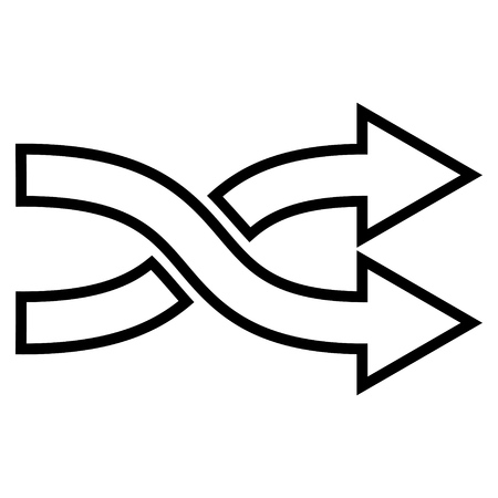 mix: Mix Arrows Horizontal vector icon. Style is contour icon symbol, black color, white background. Illustration