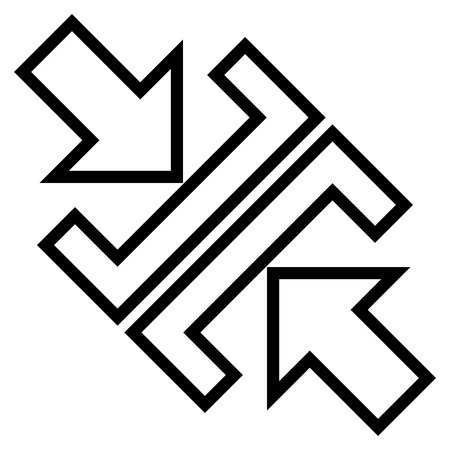 shrink: Pressure Arrows Diagonal vector icon. Style is thin line icon symbol, black color, white background.