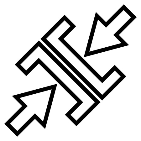 shrink: Pressure Arrows Diagonal vector icon. Style is outline icon symbol, black color, white background. Illustration