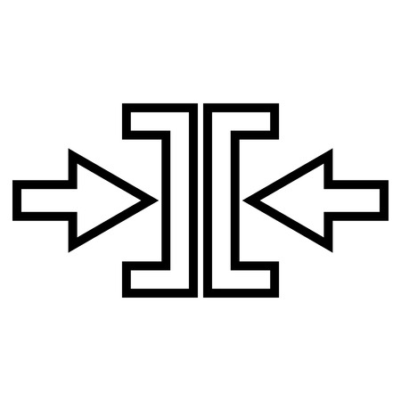 implode: Pressure Arrows Horizontal vector icon. Style is stroke icon symbol, black color, white background.