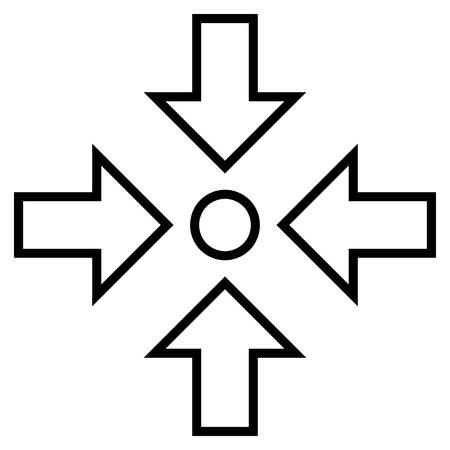 shrink: Pressure Center vector icon. Style is contour icon symbol, black color, white background.