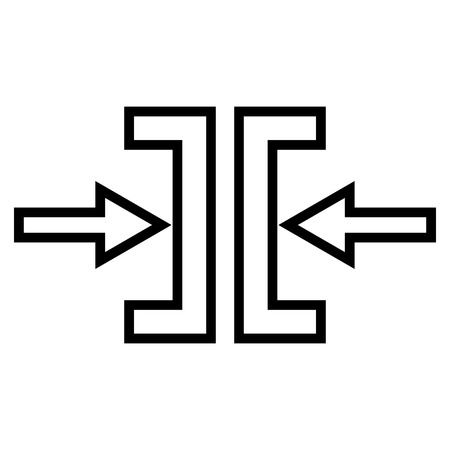 implode: Pressure Horizontal vector icon. Style is stroke icon symbol, black color, white background.