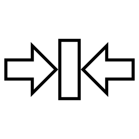 implode: Pressure Horizontal vector icon. Style is outline icon symbol, black color, white background.