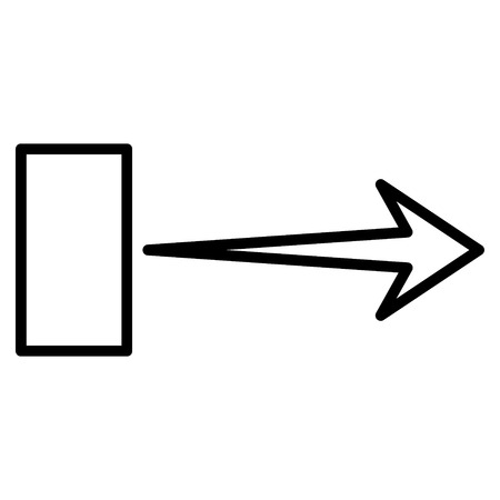 redirect: Pull Arrow Right vector icon. Style is contour icon symbol, black color, white background.