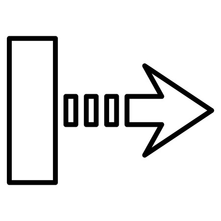 pull: Pull Arrow Right vector icon. Style is thin line icon symbol, black color, white background.