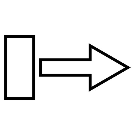 redirect: Pull Arrow Right vector icon. Style is thin line icon symbol, black color, white background.
