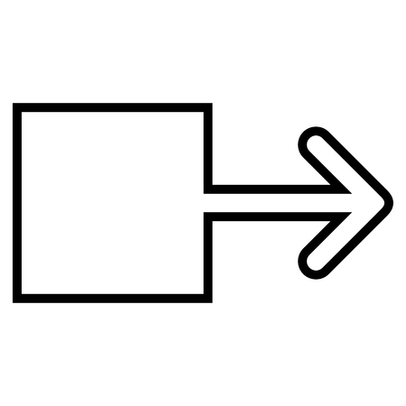 redirect: Pull Arrow Right vector icon. Style is outline icon symbol, black color, white background.