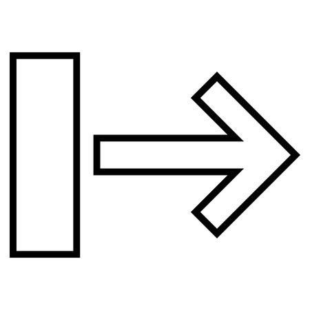 proceed: Pull Arrow Right vector icon. Style is outline icon symbol, black color, white background.