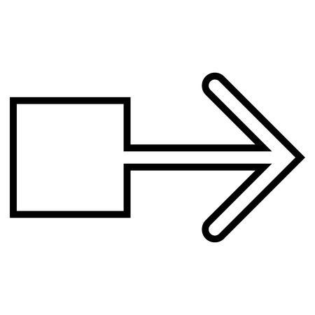 pull: Pull Arrow Right vector icon. Style is stroke icon symbol, black color, white background.
