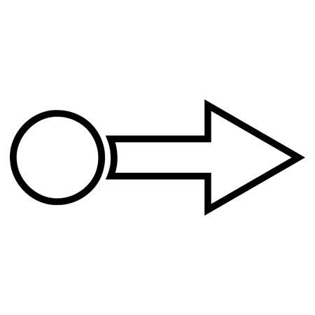 proceed: Pull Arrow Right vector icon. Style is contour icon symbol, black color, white background.