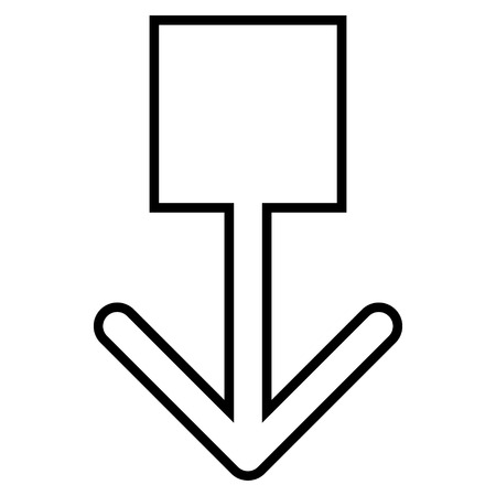pull: Pull Down vector icon. Style is contour icon symbol, black color, white background.
