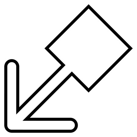 pull: Pull Left Down vector icon. Style is contour icon symbol, black color, white background. Illustration