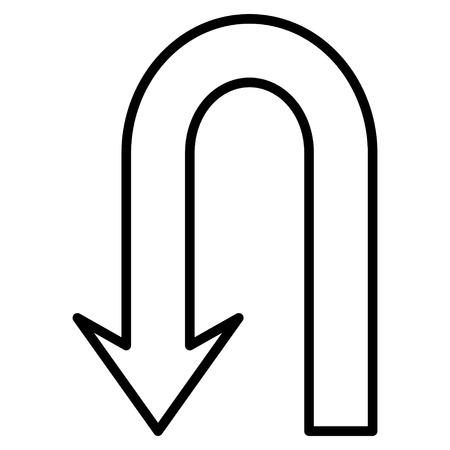 uturn: Return Arrow vector icon. Style is stroke icon symbol, black color, white background.