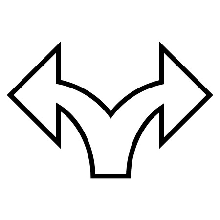 left right: Split Arrow Left Right vector icon. Style is contour icon symbol, black color, white background.