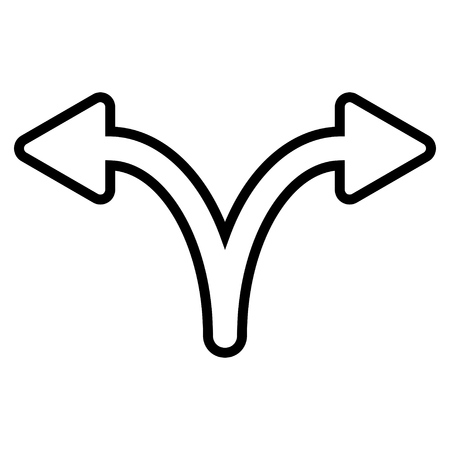 Split Arrow Left Right vector icon. Style is contour icon symbol, black color, white background.
