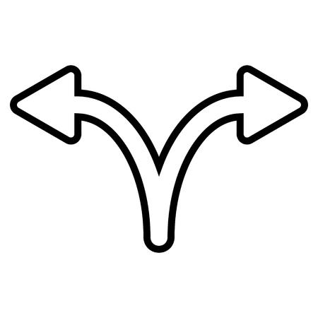 Split Arrow Left Right vector icon. Style is contour icon symbol, black color, white background.