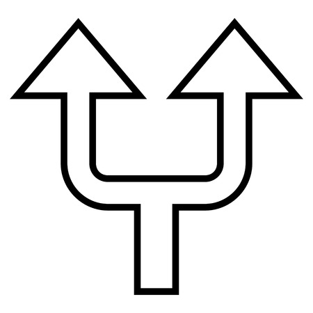 split up: Split Arrow Up vector icon. Style is outline icon symbol, black color, white background.