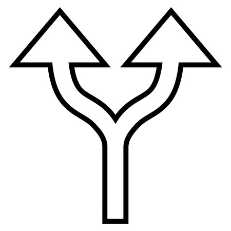 split up: Split Arrows Up vector icon. Style is outline icon symbol, black color, white background.