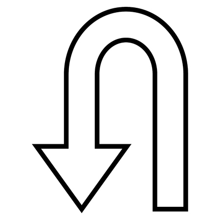 uturn: Return Arrow vector icon. Style is outline icon symbol, black color, white background. Illustration