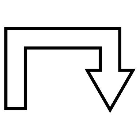 uturn: Turn Back vector icon. Style is stroke icon symbol, black color, white background.
