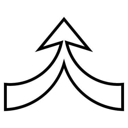 unite: Unite Arrow Up vector icon. Style is stroke icon symbol, black color, white background. Illustration