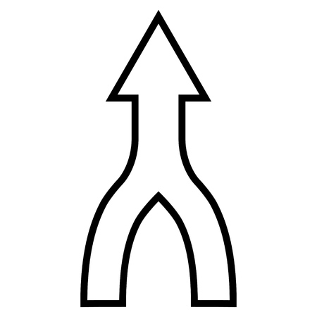 converge: Unite Arrow Up vector icon. Style is outline icon symbol, black color, white background.