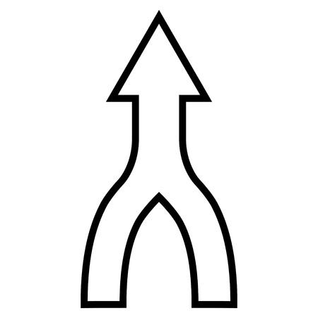 Unite Pfeil nach oben Vektor-Symbol. Der Stil ist Umriss-Symbol Symbol, Farbe schwarz, mit weißem Hintergrund.