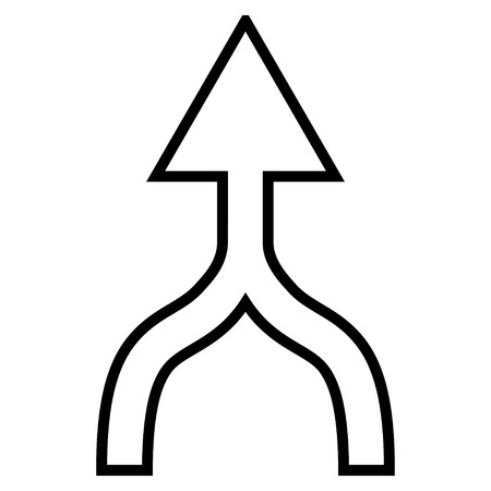 unite: Unite Arrow Up vector icon. Style is thin line icon symbol, black color, white background. Illustration