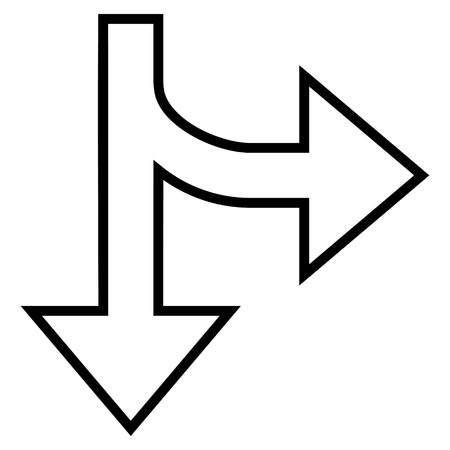 bifurcation: Split Direction Right Down vector icon. Style is contour icon symbol, black color, white background.