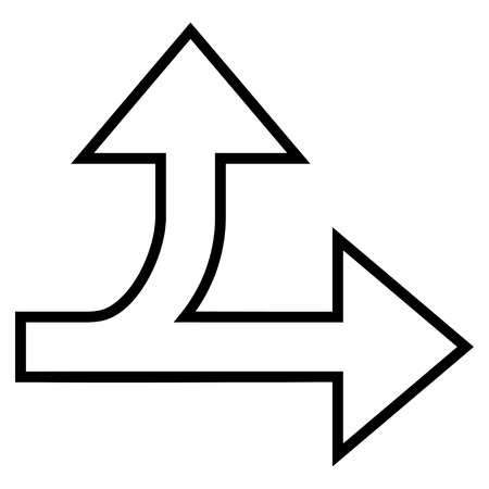 unsure: Split Direction Right Forward vector icon. Style is thin line icon symbol, black color, white background. Illustration