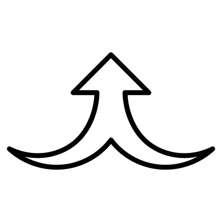 consolidation: Together Arrow Up vector icon. Style is thin line icon symbol, black color, white background.