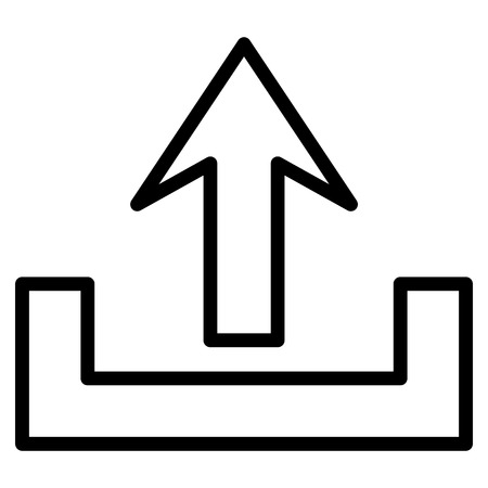 bottom line: Upload vector icon. Style is thin line icon symbol, black color, white background. Illustration