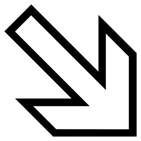 inclination: Arrow Right Down vector icon. Style is contour icon symbol, black color, white background.
