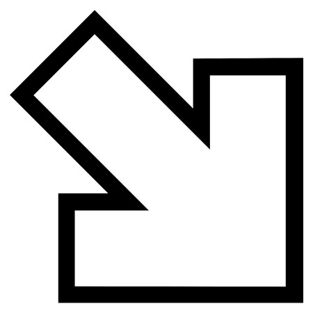 inclination: Arrow Right Down vector icon. Style is stroke icon symbol, black color, white background. Illustration
