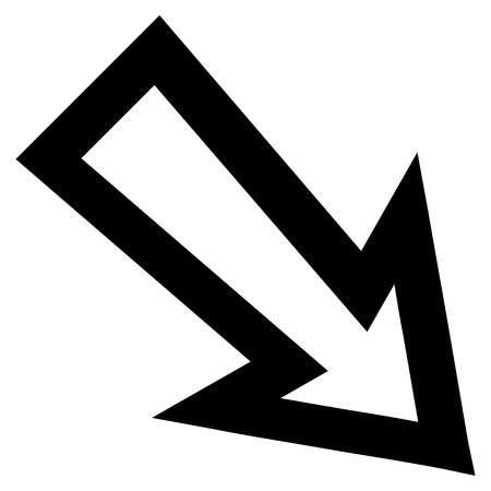 inclination: Arrow Right Down vector icon. Style is outline icon symbol, black color, white background.