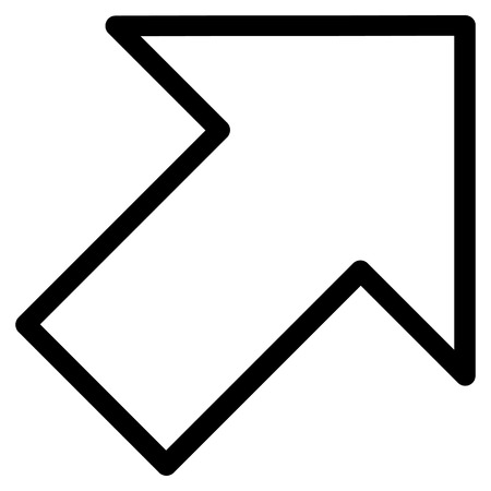 inclination: Arrow Right Up vector icon. Style is outline icon symbol, black color, white background.