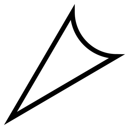 arrowhead: Arrowhead Left Down vector icon. Style is stroke icon symbol, black color, white background.