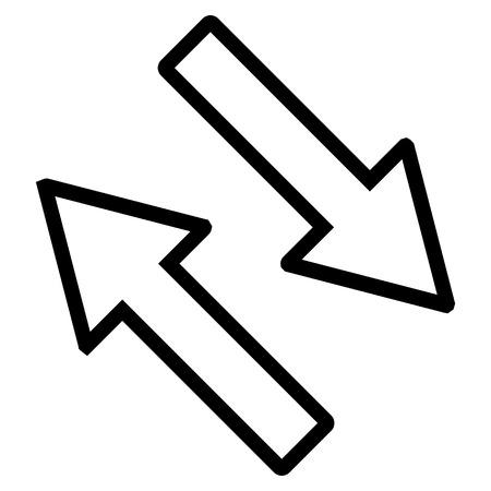 diagonally: Exchange Arrows Diagonally vector icon. Style is stroke icon symbol, black color, white background. Illustration