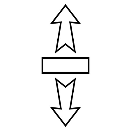 stretch: Stretch Arrows Vertically vector icon. Style is stroke icon symbol, black color, white background.