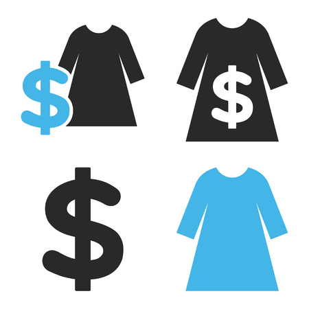 webshop: Dress Shopping vector icons. Style is bicolor blue and gray flat symbols on a white background.