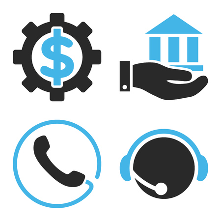 financial service: Financial Service vector icons. Style is bicolor blue and gray flat symbols on a white background.