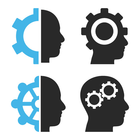 automatic transmission: Intellect Gears vector icons. Style is bicolor blue and gray flat symbols on a white background.