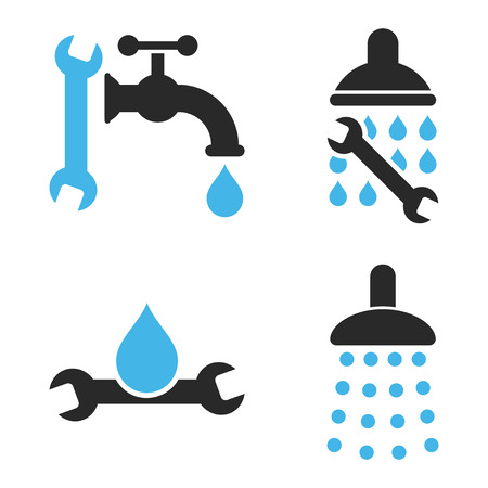 sanitary engineering: Plumbing Tools vector icons. Style is bicolor blue and gray flat symbols on a white background. Illustration