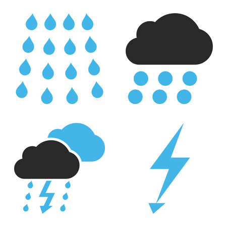 voltage gray: Thunderstorm vector icons. Style is bicolor blue and gray flat symbols on a white background. Illustration