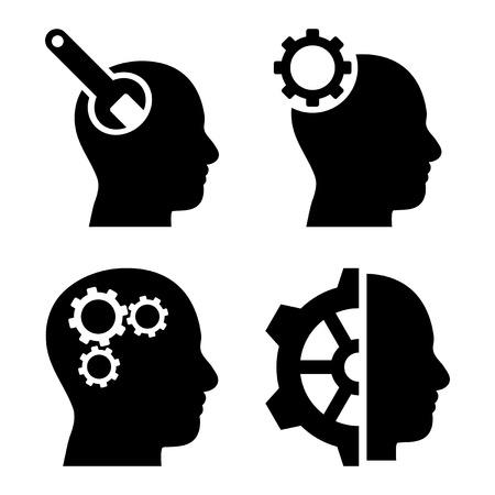 cerebro blanco y negro: Herramientas cerebrales iconos vectoriales. El estilo es s�mbolos planas negras sobre un fondo blanco.