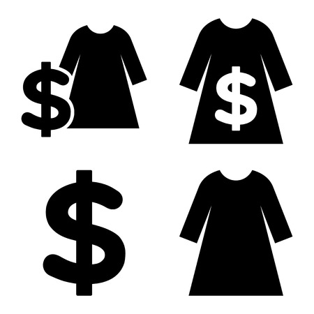 webshop: Dress Shopping vector icons. Style is black flat symbols on a white background.