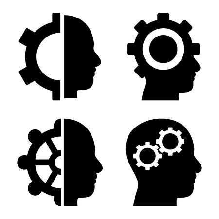 intellect: Intellect Gears vector icons. Style is black flat symbols on a white background.
